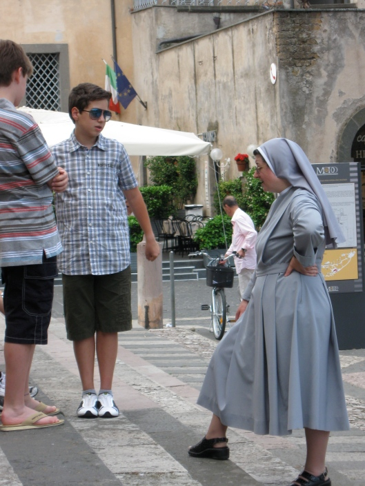 Post soccer game chat with a nun, Orvieto, Italy