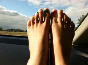 toes on the dashboard, road trip